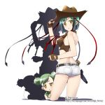 2girls arksign ass bare_back bare_shoulders blush buns bustier cactus character_request cow_girl cowboy cowboy_hat cowgirl cropped_legs double_bun fingerless_gloves from_behind gloves green_hair gun hair_buns hand_on_hat hat holster kimura_tatsuki lingerie looking_back multiple_girls personification ribbon short_hair short_shorts shorts simple_background stare tareme tsurime underwear weapon western yellow_eyes