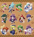 4boys 6+girls ;d ahoge amitie andou_ringo aqua_hair arle_nadja arm_up armor armored_dress bag blonde_hair bloomers blue_eyes blush bow bracelet broom brown_background brown_hair candy cape capelet capri_pants carbuncle_(puyopuyo) chibi china_dress chinese_clothes clenched_hand draco_centauros dragon_tail dragon_wings dress drill_hair dual_persona fang feli fighting_stance ghost gloves gothic_lolita green_eyes green_hair grey_hair hair_ornament hair_over_one_eye hairband hairclip happy hat heterochromia highres hood horns jewelry kendama ladybug lemres lolita_fashion lollipop long_hair mary_janes multiple_boys multiple_girls necktie no_nose object_namesake open_mouth outstretched_arms outstretched_hand pants pantyhose pointing pointy_ears purple_hair puyopuyo red_eyes redhead rei-kun ribbon rider_(puyopuyo) ruku_(ruku_5050) sasaki_maguro sharp_teeth shawl shirt shoes short_hair shorts sig sleeves_past_wrists smile spread_arms staff star striped striped_background tail thighhighs twin_drills twintails underwear white_feli white_legwear wings wink witch_(puyopuyo) wrist_cuffs yellow_eyes yu-chan
