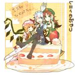 ascot bad_id blonde_hair blue_eyes bow braid cake crossed_legs dress eating english flandre_scarlet food food_on_face fork fruit garter_straps hair_bow hat highres hong_meiling izayoi_sakuya knife long_hair maid maid_headdress multiple_girls open_mouth plate red_eyes red_hair redhead ringetsumon short_hair side_ponytail silver_hair smile star strawberry thigh-highs thighhighs tongue touhou twin_braids whipped_cream wings wink