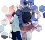 back-to-back blue_hair book closed_eyes coat eyes_closed jacket male multiple_boys nezumi_(no.6) no.6 open_mouth scarf shion_(no.6) short_hair sion_(no.6) smile white_hair yubari
