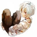 barefoot looking_back male no.6 red_eyes shion_(no.6) shirt short_hair sion_(no.6) soto white_hair
