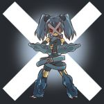 armor belt blue_hair cosplay female fingerless_gloves gloves hair hitec human mask metagross moemon personification pokemon pokemon_(game) pokemon_rse pokã©mon red_eyes solo twintails