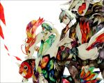 aggron green_hair jewelry male mikuri_(pokemon) milotic multiple_boys pokemon pokemon_(game) pokemon_rse pokemon_ruby_and_sapphire ring seaking silver_hair skarmory traditional_media tsuwabuki_daigo watercolor_(medium) yuuichi_(bobobo)
