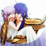armor athena_(saint_seiya) blue_eyes blue_hair carrying child dress green_eyes hair_ribbon lavender_hair princess_carry ribbon ru-ru-tia saint_seiya saint_seiya:_the_lost_canvas sasha_(saint_seiya:_the_lost_canvas) scorpio_kardia wink