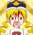 blonde blood cosplay crossover drill_hair mahou_shoujo_madoka_magica mawaru_penguindrum seizon_senryaku shocked surprised takakura_himari tomoe_mami