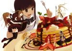 armor ass black_legwear bow brown_hair chocolate coffee drooling eating food fork fruit girl_in_food hair_bow hat highres in_food knife kokudou_juunigou minigirl multiple_girls original pancake plate ponytail raspberry simple_background skindentation strawberry sword syrup thigh-highs thighhighs twintails weapon whipped_cream