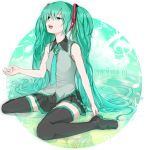 aqua_eyes aqua_hair bad_id bass_clef black_legwear boots hatsune_miku long_hair minazuki_randoseru musical_note necktie open_mouth oudanhodou sitting skirt solo thigh-highs thigh_boots thighhighs treble_clef twintails very_long_hair vocaloid wariza zettai_ryouiki