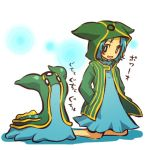 1girl blush_stickers cosplay dress gastrodon hair hands_in_pockets hitec hoodie human jacket kneeling male moemon open_mouth personification pokemon pokemon_(creature) pokemon_(game) pokemon_dppt short_hair smile translation_request