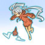 1girl barefoot blue_eyes blush_stickers cosplay female grey_hair hitec hoodie human long_hair moemon outline personification pokemon pokemon_(creature) pokemon_(game) pokemon_dppt rotom smile sweatshirt twintails very_long_hair white_hair