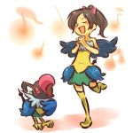 1girl bare_shoulders bird black_hair blush_stickers bow chatot closed_eyes cosplay dress female hair hair_bow hitec human moemon musical_note open_mouth personification pinky_out pokemon pokemon_(creature) pokemon_(game) pokemon_dppt ponytail singing smile tail thigh-highs thighhighs wings zettai_ryouiki