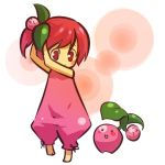 1girl barefoot blush_stickers cherubi child closed_eyes cosplay female hair hitec human moemon open_mouth personification pink_eyes pink_hair pokemon pokemon_(creature) pokemon_(game) pokemon_dppt red_eyes red_hair short_hair side_ponytail simple_background sleeveless smile