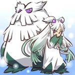 1girl abomasnow cosplay costume female gradient_hair green_hair hair hair_accessories hair_ornament hitec human long_hair moemon multicolored_hair personification pokemon pokemon_(creature) pokemon_(game) pokemon_dppt purple_eyes sleeves_past_wrists twintails violet_eyes white_hair