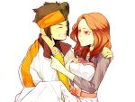 1girl 4tew bad_id brown_eyes brown_hair carrying closed_eyes couple dress endou_mamoru eyes_closed grin headband husband_and_wife inazuma_eleven inazuma_eleven_(series) inazuma_eleven_go jacket princess_carry raimon_natsumi red_eyes smile