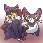 1girl :< animal_ears black_hair cat_ears chair coat cosplay cup eyeshadow fat female glass hitec human jewelry lipstick makeup moemon open_mouth pantyhose personification pokemon pokemon_(creature) pokemon_(game) pokemon_dppt purple_eyes purple_hair purugly ring robe sitting what_is_a_man? whiskers wine_glass yellow_eyes