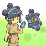 1girl blue_hair bronzor cosplay female hair hair_bun hairband hitec human jewelry mirror moemon necklace personification pokemon pokemon_(creature) pokemon_(game) pokemon_dppt yellow_eyes