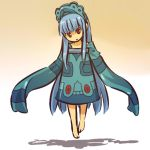 1girl barefoot blue_hair bronzong cosplay female floating hair headdress hitec human long_hair moemon open_mouth personification pokemon pokemon_(game) pokemon_dppt red_eyes shadow sleeves_past_wrists solo very_long_hair