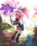 heterochromia highres lizard minigirl mushroom nail_polish nemusuke pink_hair pixiv_fairy pointy_ears toenail_polish