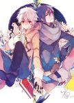 bandaid blue_hair book flower gloves hand_holding holding_hands jacket minatsume mouse multiple_boys nezumi_(no.6) no.6 red_eyes scarf shion_(no.6) sion_(no.6) sitting smile white_hair