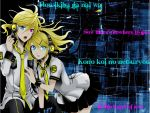 blonde_hair headphones heterochromia kagamine_len kagamine_rin lyrics necktie ponytail skirt uniform vocaloid