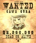 1girl a animal_hood cowboy_hat dollar_sign english_text eyebrows_visible_through_hair gawr_gura hat highres hololive hood hood_down kukie-nyan long_hair milestone_celebration shark_girl shark_hood twitter_username virtual_youtuber wanted