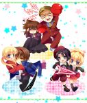 blonde_hair blue_eyes boxing_gloves brown_hair carrying chibi couple formal kanon_(umineko) long_hair running ui1031 umineko_no_naku_koro_ni ushiromiya_jessica ushiromiya_krauss ushiromiya_lion ushiromiya_natsuhi willard_h_wright yellow_eyes