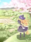 aro_s back bamboo_broom black_dress blonde_hair boots broom cherry_blossoms cloud dress farm field from_behind hat kirisame_marisa long_hair nature rice_paddy scenery sky standing touhou tree witch witch_hat