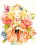 ao_no_exorcist blonde_hair bow closed_eyes eyes_closed flower hair_bow hairband japanese_clothes kimono momiji_(lucario) moriyama_shiemi obi open_mouth short_hair smile solo traditional_media watercolor_(medium)