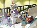 epaulettes food helmet katana male multiple_boys nemudaru onigiri origami_cyclone power_armor power_suit shuriken sitting sky_high superhero sword tiger_&_bunny weapon