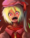 1girl ascot blonde_hair blood blood_in_mouth blood_on_face blush crazy_eyes dress face flandre_scarlet harusame_(unmei_no_ikasumi) hat head_tilt heart heart-shaped_pupils off_shoulder open_mouth red_dress saliva side_ponytail solo symbol-shaped_pupils touhou