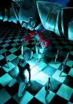 bad_id blue_eyes blue_hair bow checkered checkered_floor chevasis crack highres kneeling looking_up mahou_shoujo_madoka_magica miki_sayaka oktavia_von_seckendorff school_uniform spoilers sword weapon