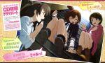 ;o absurdres boots highres hoodie koizumi_hanayo kousaka_honoka love_live!_school_idol_project minami_kotori multiple_girls murota_yuuhei official_art open_mouth photo_(object) side_ponytail sitting skirt stairs wink