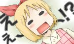 annaka_(nichijou) annaka_haruna blonde_hair blush_stickers bow casual catchphrase hair_bow kazeiro nichijou open_mouth solo takamura_kouji translated
