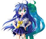 green_eyes hands_on_hips izumi_konata k-on! long_hair lucky_star rindou_(awoshakushi) school_uniform serafuku shadow solo