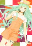 bow checkered checkered_background coma_(fginiy) green_eyes green_hair hat hatsune_miku jewelry long_hair nail_polish necklace porkpie_hat ring solo star very_long_hair vocaloid