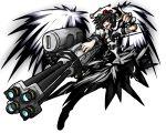 black_hair black_wings camera gatling_gun gun hat highres red_eyes shameimaru_aya short_hair solo tokin_hat touhou vandana weapon wings