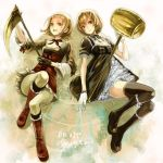2girls boots brown_eyes brown_hair dress female_protagonist_(harvest_moon_animal_parade) gloves hammer harvest_moon harvest_moon_animal_parade harvest_moon_tree_of_tranquility legs lips lolita_fashion lying molly_(harvest_moon) multiple_girls ribbon routemoc short_hair sickle thigh-highs thighhighs