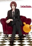 checkered checkered_floor couch crossed_legs formal gundam gundam_00 haro ikasumi lockon_stratos long_hair male necktie neil_dylandy sitting smile suit tiles