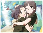 2girls :d arima_nana bangs black_hair blunt_bangs brown_eyes brown_hair hand_on_head hug looking_at_viewer maria-sama_ga_miteru multiple_girls natsumi_hajime open_mouth path road school_uniform serafuku shimazu_yoshino short_hair smile tears wink