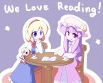 alice_margatroid blonde_hair blue_eyes book crescent cup doll english hairband hat miyo_(miyomiyo01) patchouli_knowledge pocky purple_eyes purple_hair red_eyes shanghai shanghai_doll sitting star teacup touhou violet_eyes