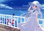 blue_hair braid cat cloud clouds dress hat highres long_hair mountain nanao_naru open_mouth sky smile sun_hat sundress water