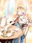 bad_id checkerboard_cookie closed_eyes cookie food macaron shain_roki tea touhou