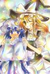 apron bad_id blonde_hair blush covering_mouth embarrassed hat hat_ribbon kirisame_marisa long_hair marker_(medium) multiple_girls no_nose open_mouth patchouli_knowledge purple_eyes purple_hair ribbon short_sleeves touhou traditional_media violet_eyes wide_sleeves wink wiriam07 witch_hat yellow_eyes
