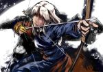 blood blue_eyes bow_(weapon) injury kouzilow long_hair mouth_hold silver_hair solo touhou weapon yagokoro_eirin