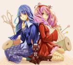blue_eyes blue_hair boots braid bunny candace_(harvest_moon) cardigan dress drill_hair fashion fishnet_pantyhose fishnets flower hair_flower hair_ornament harvest_moon harvest_moon_animal_parade harvest_moon_tree_of_tranquility loafers lolita_fashion long_hair luna_(harvest_moon) multiple_girls needle pantyhose pin pincushion pink_hair rabbit routemoc scissors shoes siblings sisters sitting skirt socks spool thread