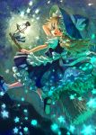 apron blonde_hair bow braid broom faux_traditional_media frills gathers glowing hair_bow hand_on_hat hat highres kirisame_marisa lantern light long_hair mary_janes open_mouth petticoat shoes smile star touhou waist_apron witch witch_hat yellow_eyes