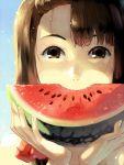 brown_hair food fruit hands holding holding_fruit joodlez juby original portrait solo watermelon