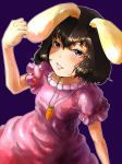 brown_hair carrot dress fist inaba_tewi necklace nihimaru rabbit_ears red_eyes touhou