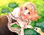 blonde_hair blue_eyes capelet clover clover_(flower) flower hairband hands hazakura_satsuki jewelry lying on_side ring short_hair touhou