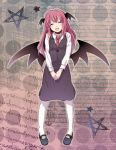 bat_wings blouse closed_eyes hands_clasped head_wings headwings koakuma long_hair necktie open_mouth pentagram pink_hair redhead shoes skirt smile star touhou wings yuko_(artist) yuuyuu_(yuko)