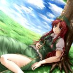 blue_eyes bow braid chinese_clothes hair_bow hat hong_meiling long_hair mochi.f red_hair redhead shade sitting solo touhou tree twin_braids